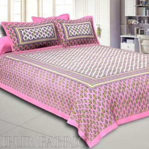Pink Base leaf and circles Printed Cotton Double Bed Sheet