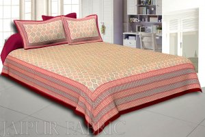 Maroon   Border Cream Base Leaf Pigment Cotton Satin Hand Block King Size Double Bedsheet
