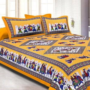 Yellow base Jaipur doli design  with elephant Print Double Bed Sheet and Pillow Covers