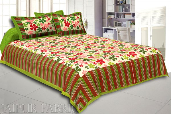 Multi Color Floral Vertical Stripes Green Border Cotton Double Bed Sheet