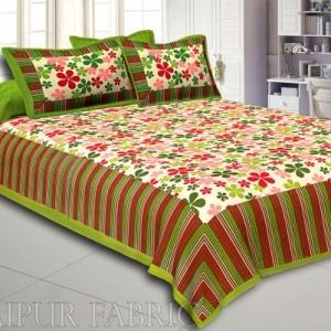 Multi Color Floral Vertical Stripes Green Border Cotton Double Bed Sheet
