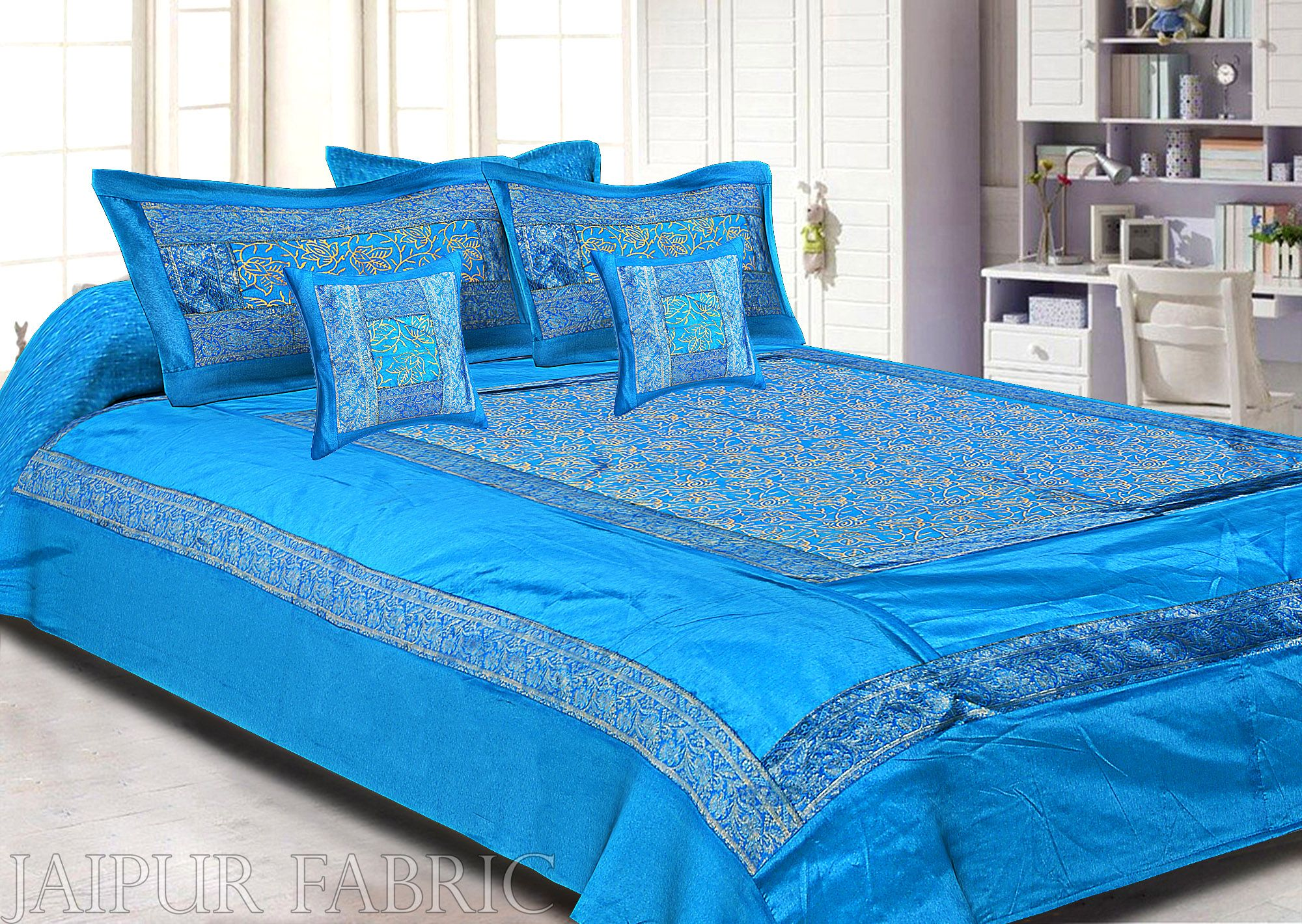 Firozi Base With Golden Print And Zari Border Silk Double Bedsheet