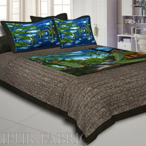 Dark Brown Brown Base 2 Paire Peacock Double Bedsheet With Two Pillow Cover