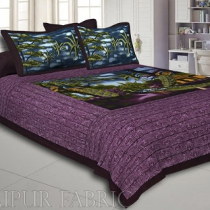 Purple  Border With Green Base Peacock Print Pigment Cotton Double Bedsheet With Two Pillow Cover