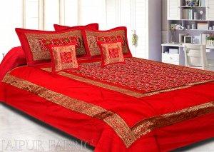 Radish Maroon Base Computer Emboirdery With Zari Border Silk Double Bedsheet