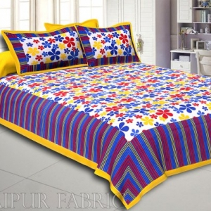 Multi Color Floral Vertical Stripes Yellow Border Cotton Double Bed Sheet