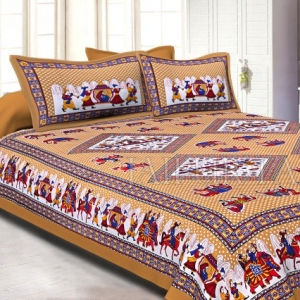 Brown base Jaipur doli design  with elephant Print Double Bed Sheet and Pillow Covers
