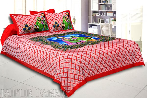 Red Border White  And Blue Base Paniharan  Pattern Double Bedsheet With Two Pillow Cover