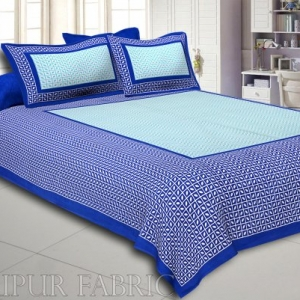 Blue Small Leaf Design Cotton Double Bed Sheet