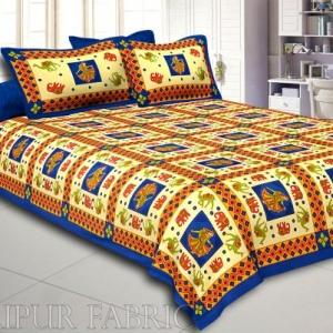Blue Border Elephant and Camel Rajasthani Folk Dance Cotton Double Bed Sheet
