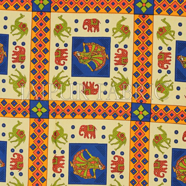 Blue Border Elephant and Camel Rajasthani Folk Dance Cotton Double Bed Sheet