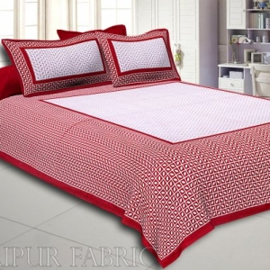 Maroon Small Leaf Design Cotton Double Bed Sheet