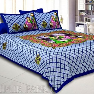 Blue Border White  And Blue Base Paniharan  Pattern Double Bedsheet With Two Pillow Cover