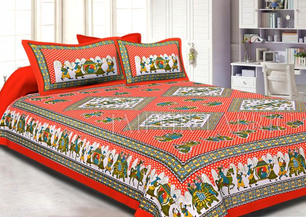 Orange base Jaipur doli design with elephant Print Double Bed Sheet and Pillow Covers
