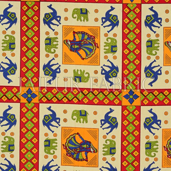 Yellow Border Elephant and Camel Rajasthani Folk Dance Cotton Double Bed Sheet