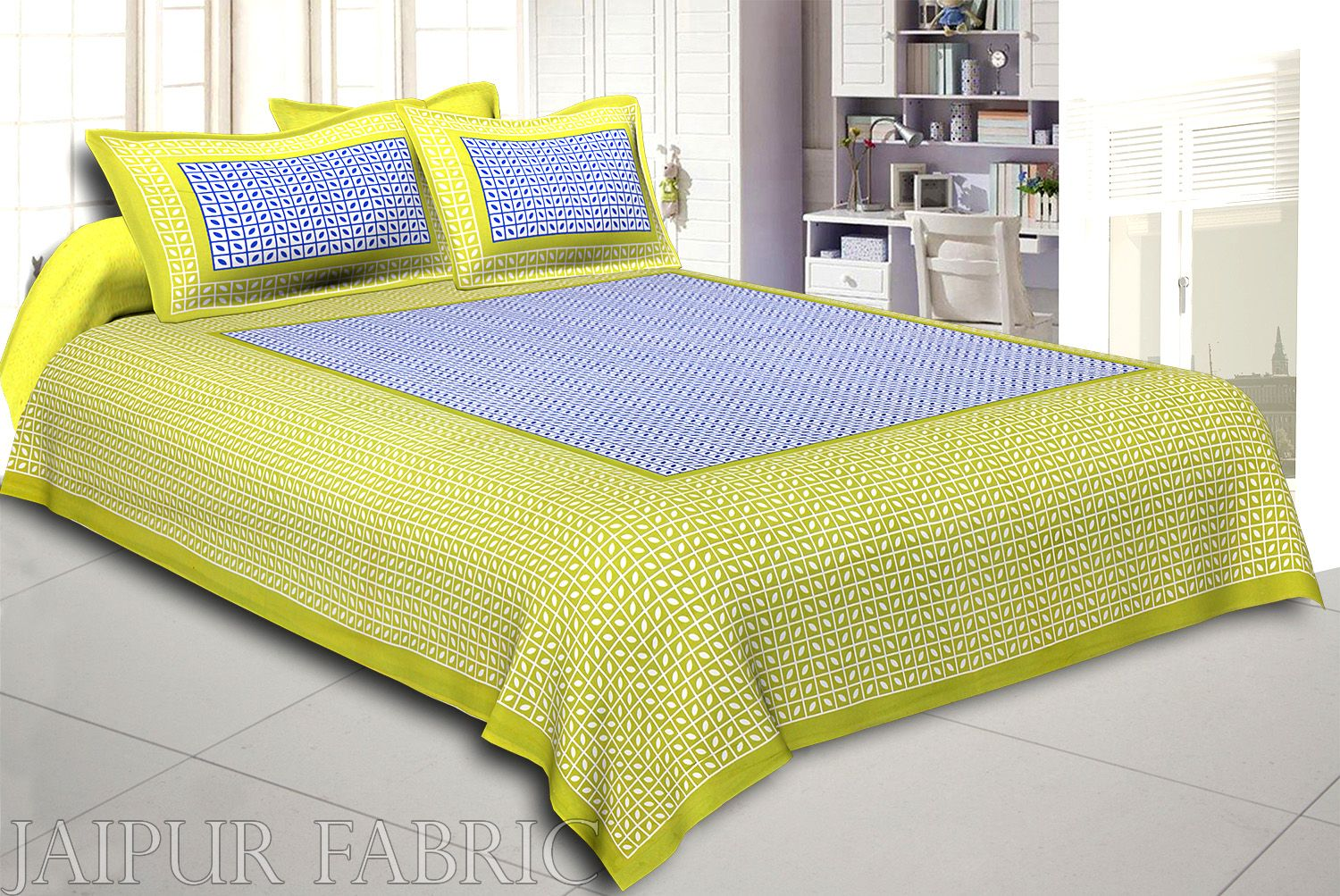 Green Small Leaf Design Cotton Double Bed Sheet