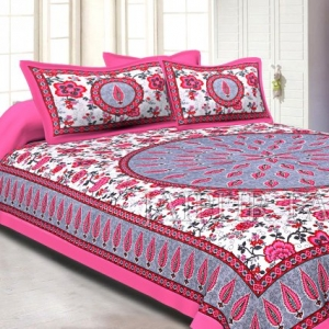 Pink and Gray Border with White Base Floral Print Cotton Double Bed Sheet