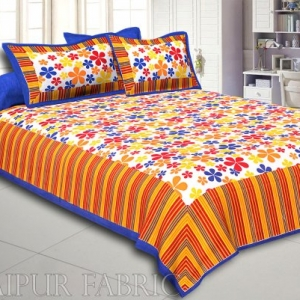 Multi Color Floral Vertical Stripes Blue Border Cotton Double Bed Sheet