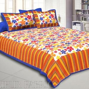 Multi Color Floral Vertical Stripes Blue Border Cotton Double Bed Sheet