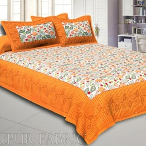 Yellow Border Flower and Leaf Printed Cotton Double Bed Sheet