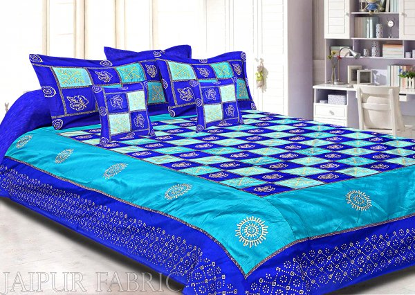Blue And Firozi Chess Gold Patten  With Golden Print Silk Double Bedsheet