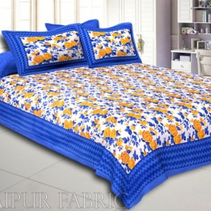 Blue Wavy Border and Floral Print Cotton Double Bed Sheet