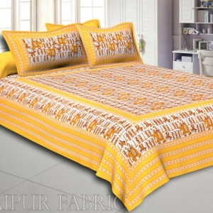 Pastel Brown Rajasthani Wedding Printed Cotton Double Bed Sheet