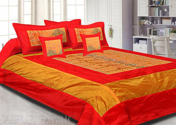 Orange And Red Border  Border Rajwada Pattern Silk Double Bedsheet