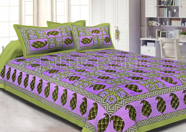 Keri Print  Pink Color Base with Green Border Double Bed Sheet