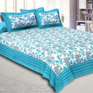 Turquoise Wavy Border and Floral Print Cotton Double Bed Sheet