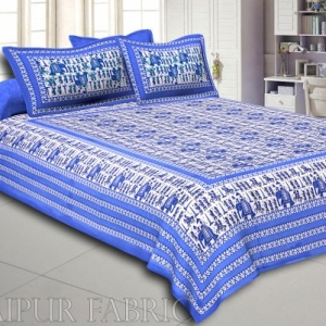 Pastel Blue Rajasthani Wedding Printed Cotton Double Bed Sheet