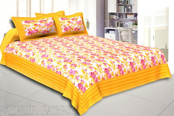Yellow Wavy Border and Floral Print Cotton Double Bed Sheet