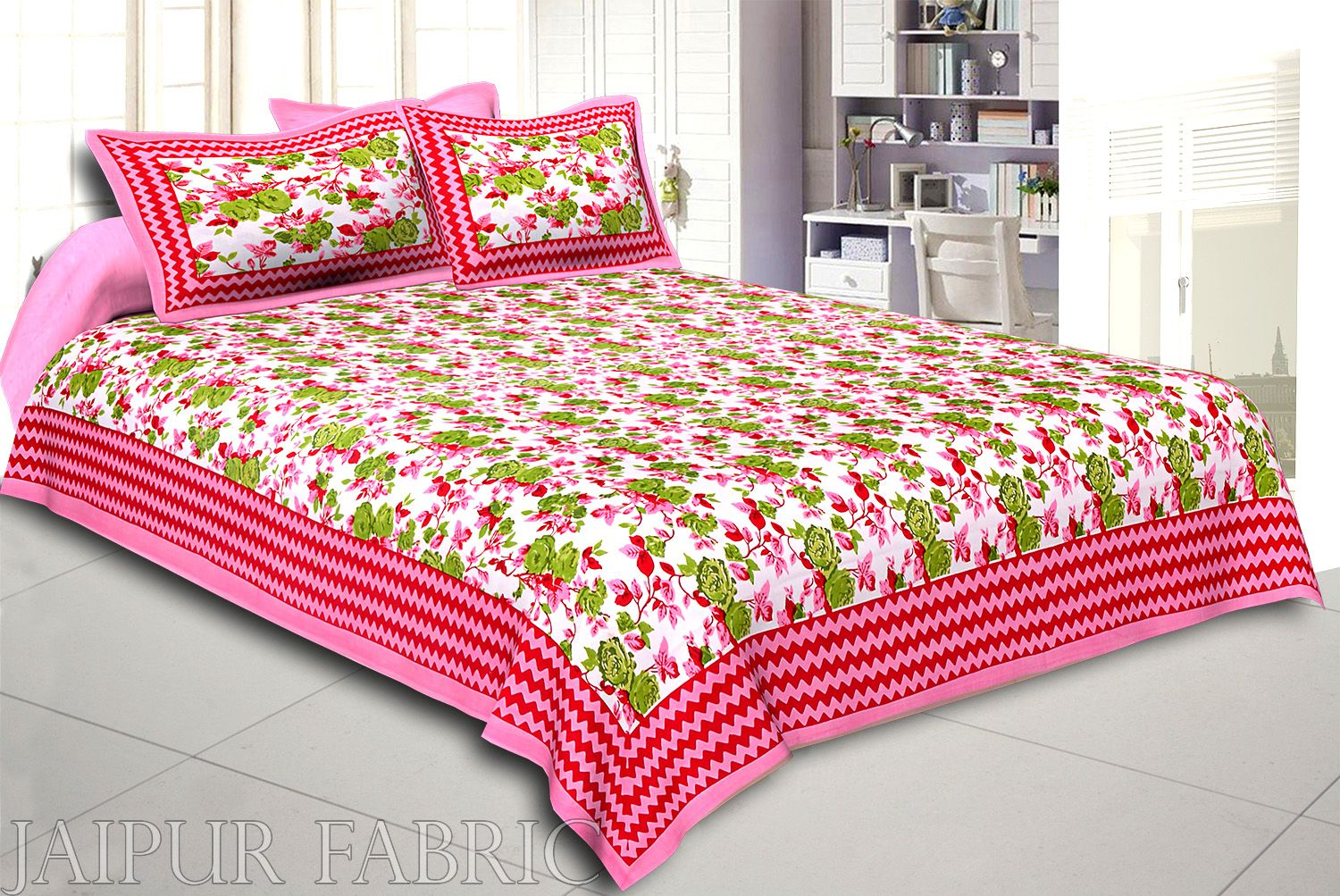 Pink Wavy Border and Floral Print Cotton Double Bed Sheet