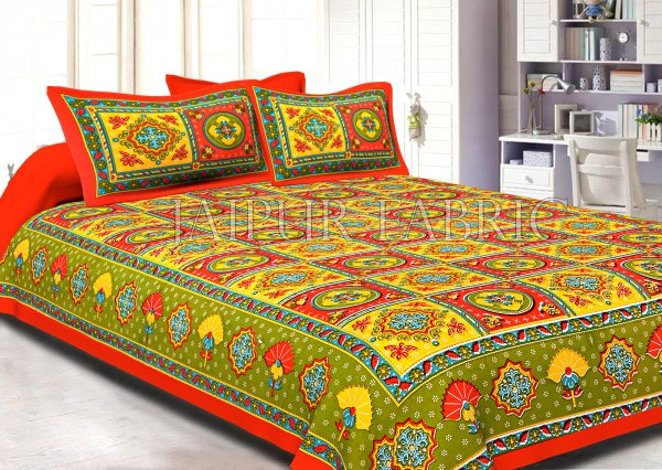 Orange Royal Jaipuri Print Cotton Double Bed Sheet