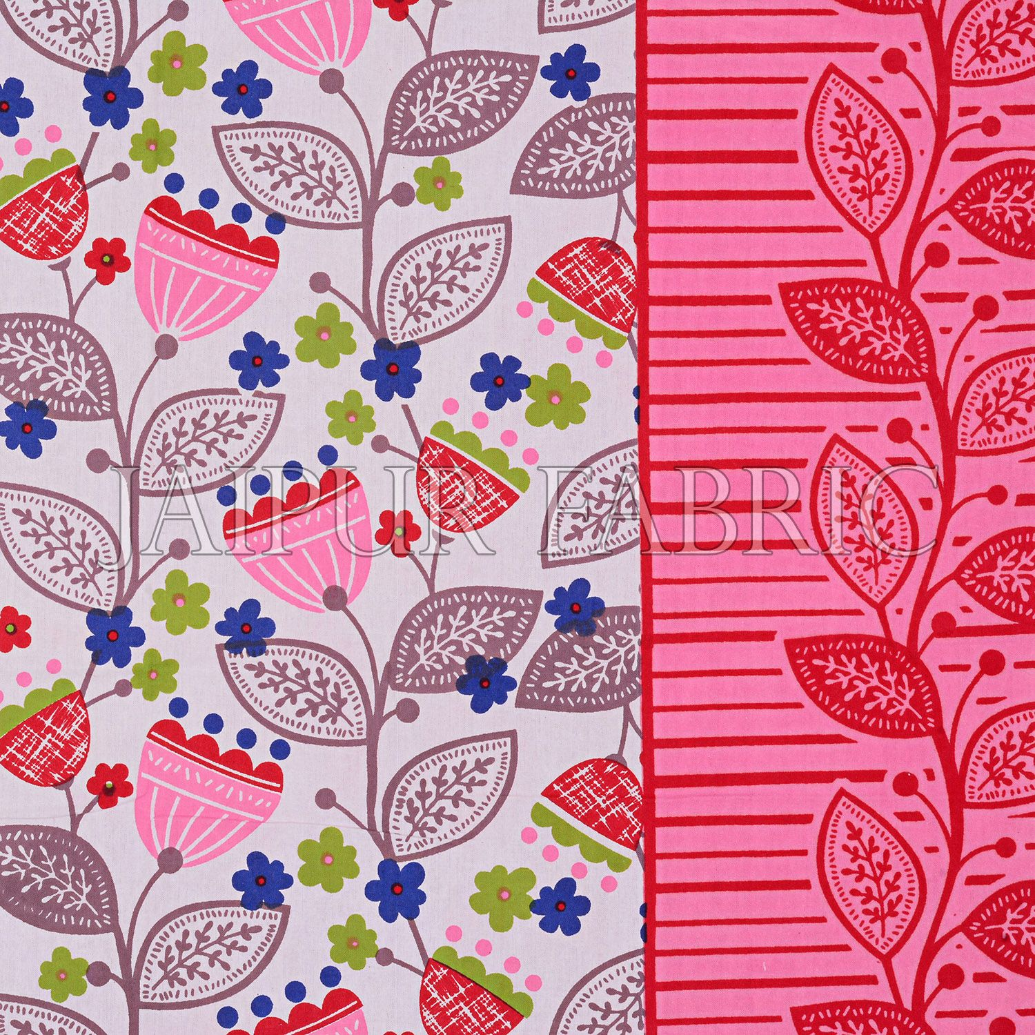 Pink Border Flower and Leaf Printed Cotton Double Bed Sheet