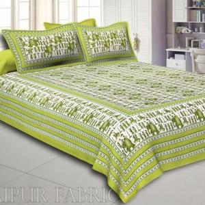 Pastel Green Rajasthani Wedding Printed Cotton Double Bed Sheet