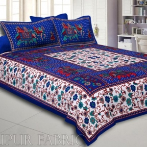 Blue Big Elephant Printed Cotton Double Bed Sheet