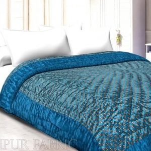 Dark Firozi   Base Golden Floral Print Silk  Cotton Single  Bed Quilt