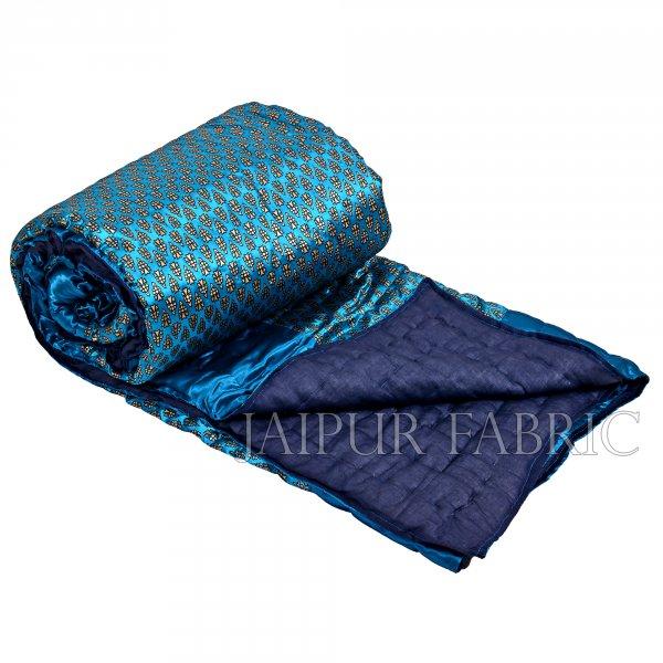 Dark Firozi   Base Golden Floral Print Silk  Cotton Double  Bed Quilt