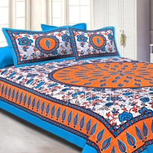 Orange and Cyan Border with White Base Floral Print Cotton Double Bed Sheet