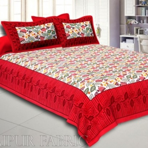Red Border Flower and Leaf Printed Cotton Double Bed Sheet