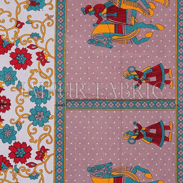 Khaki Big Elephant Printed Cotton Double Bed Sheet