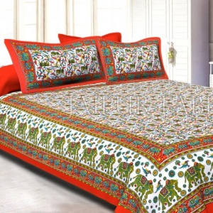 Orange Border Elephant Camel and Bird Print Cotton Double Bed Sheet
