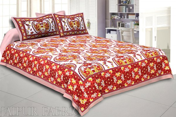Khaki Keri and Floral Print Cotton Double Bed Sheet
