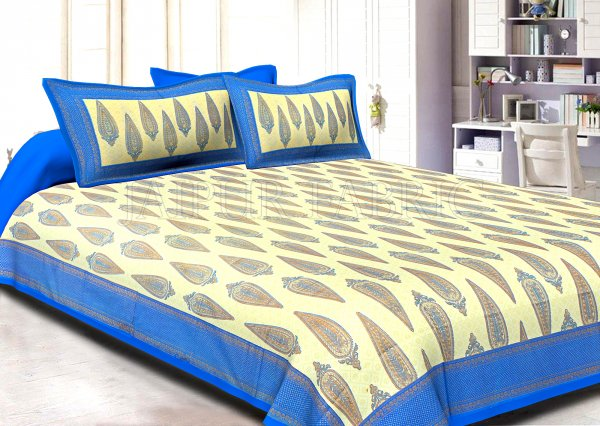 Blue Border Cream Base Long Leaf Pattern With Golden Print Super Fine Cotton Double Bedsheet