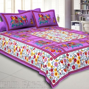 Purple Big Elephant Printed Cotton Double Bed Sheet