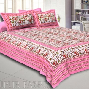 Pastel Pink Rajasthani Wedding Printed Cotton Double Bed Sheet