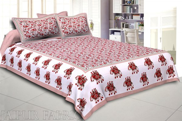 Olive Elephant Safari Printed Cotton Double Bed Sheet