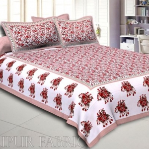 Olive Elephant Safari Printed Cotton Double Bed Sheet