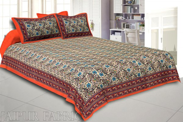 Orange Rajasthani Jaipuri Printed Cotton Double Bed Sheet